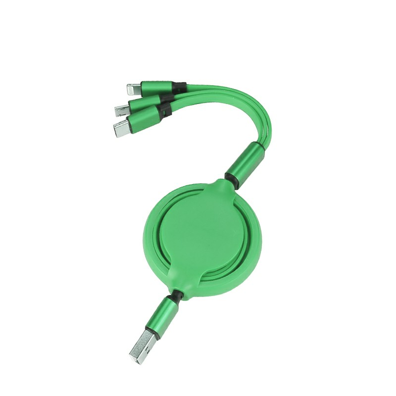 3 in 1 Soft TPE Type-c Micro USB 8 Pin iPhone USB Charging Cable - Green