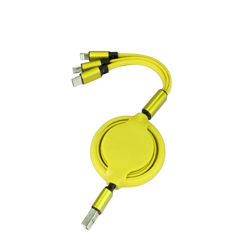 3 in 1 Soft TPE Type-c Micro USB 8 Pin iPhone USB Charging Cable - Yellow