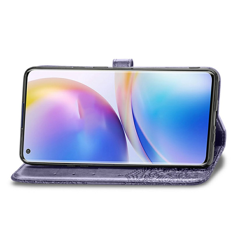 Flip Stand PU Leather Case for OnePlus 8 Pro - Purple