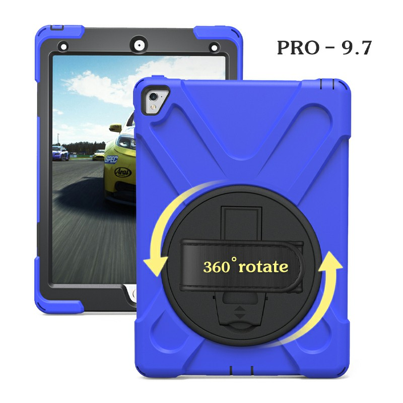 Heavy Duty Rugged PC Silicone Case with Stand for iPad Pro 9.7 - Blue