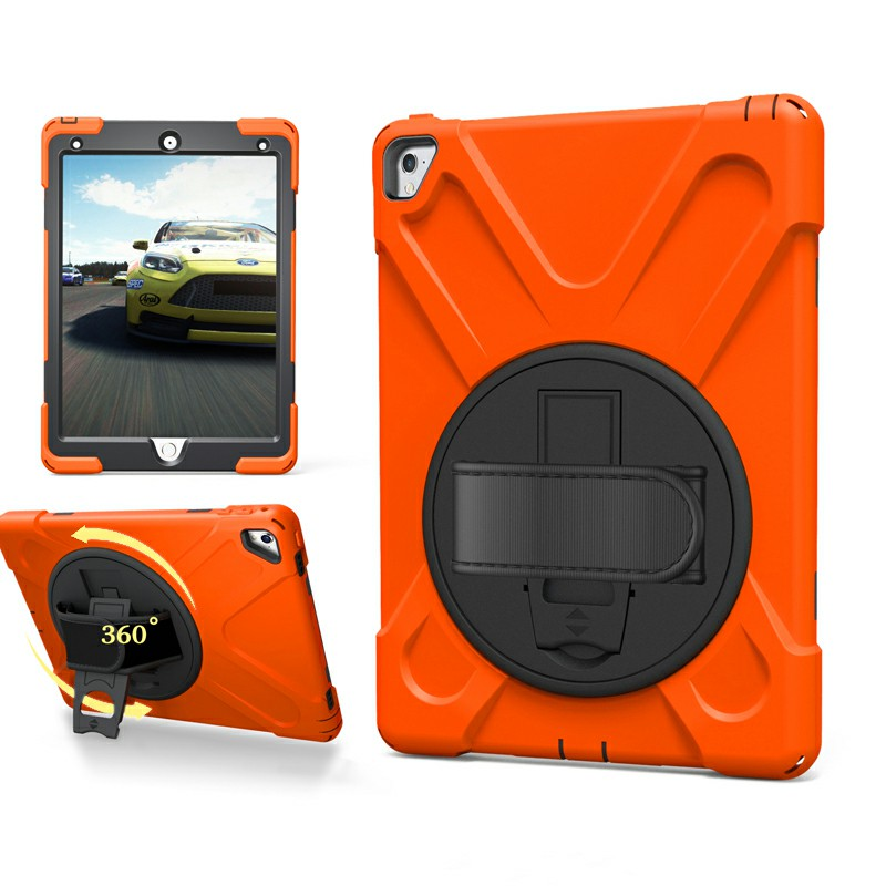 Heavy Duty Rugged PC Silicone Case with Stand for iPad Pro 9.7 - Orange