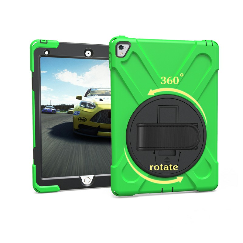 Heavy Duty Rugged PC Silicone Case with Stand for iPad Pro 9.7 - Green