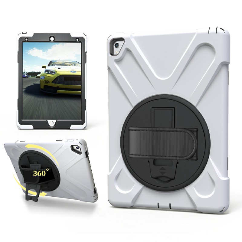 Heavy Duty Rugged PC Silicone Case with Stand for iPad Pro 9.7 - White
