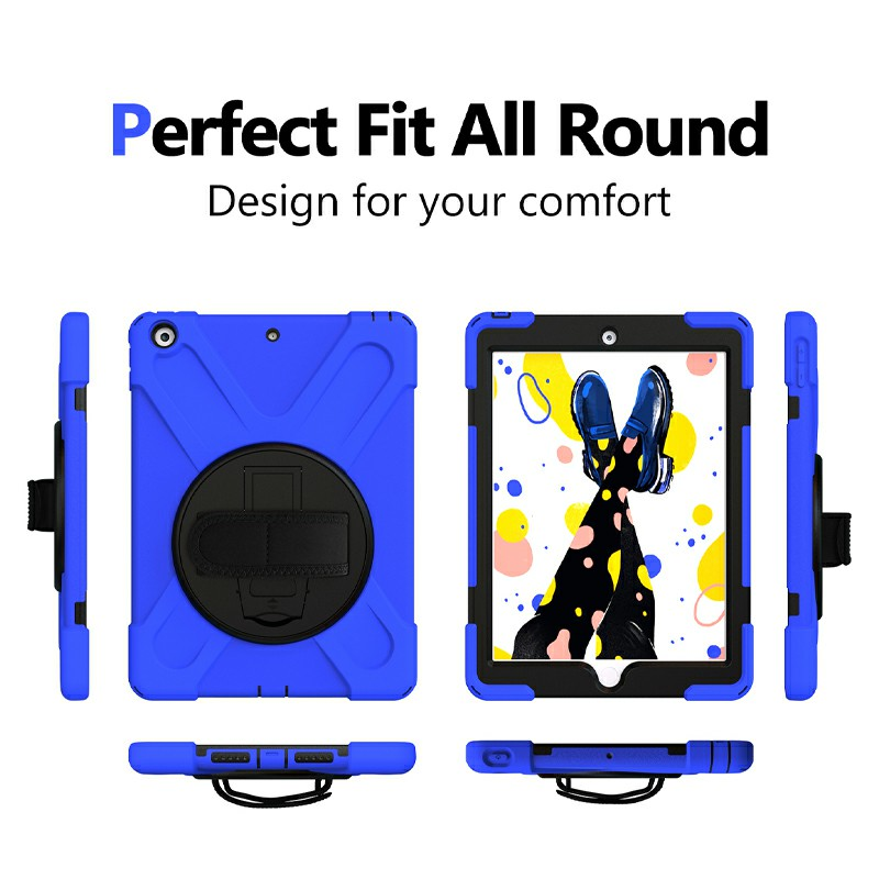 360 Degree Rotation Back Cover Shockproof Cases with Stand for Apple iPad 2019 10.2 - Blue