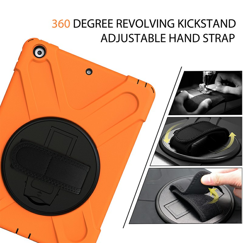 360 Degree Rotation Back Cover Shockproof Cases with Stand for Apple iPad 2019 10.2 - Orange