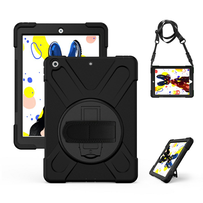 360 Degree Rotation Back Cover Shockproof Cases with Stand for Apple iPad 2019 10.2 - Black