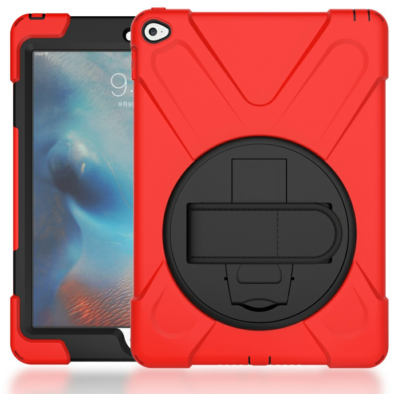 360 Degree Rotation Back Cover Shockproof Cases with Stand for iPad Air 2 - Red