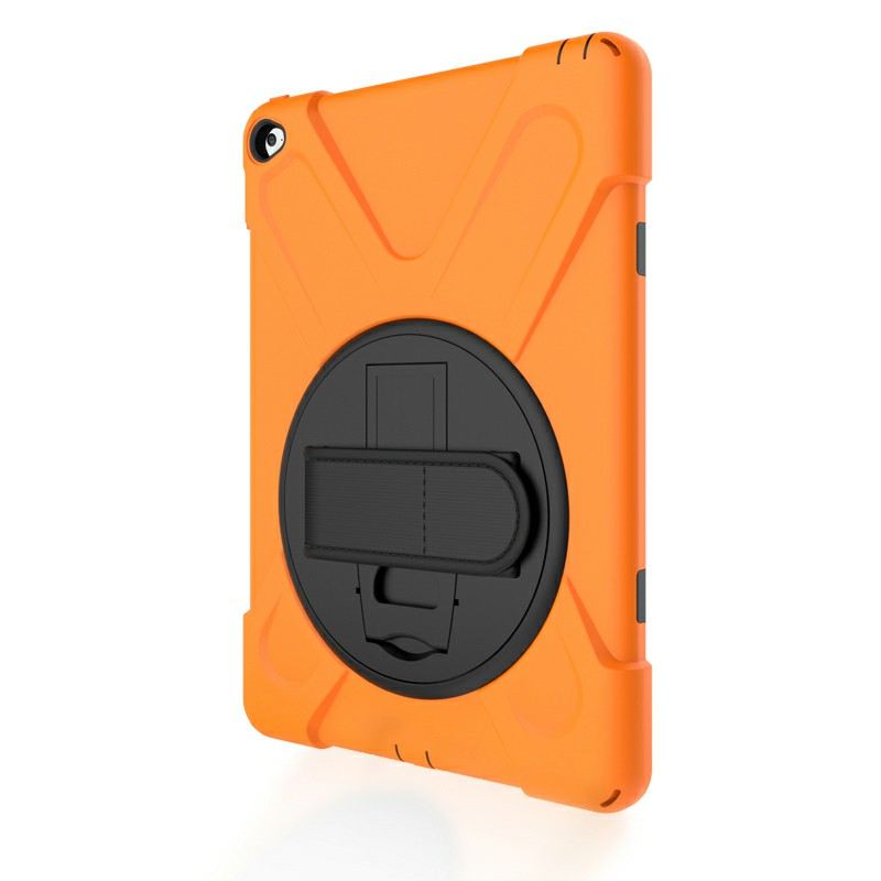360 Degree Rotation Back Cover Shockproof Cases with Stand for iPad Air 2 - Orange