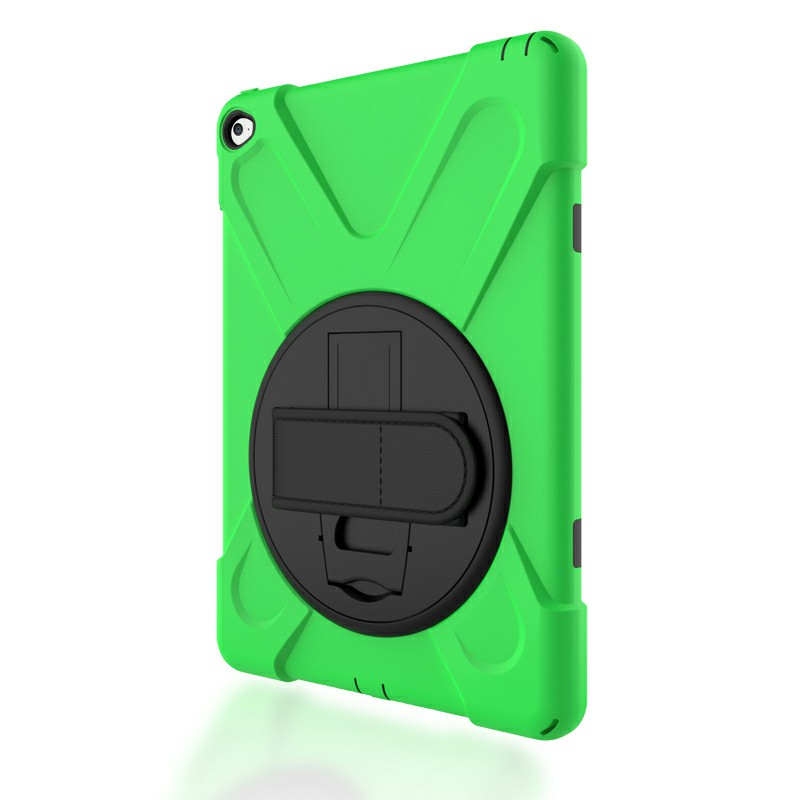 360 Degree Rotation Back Cover Shockproof Cases with Stand for iPad Air 2 - Green