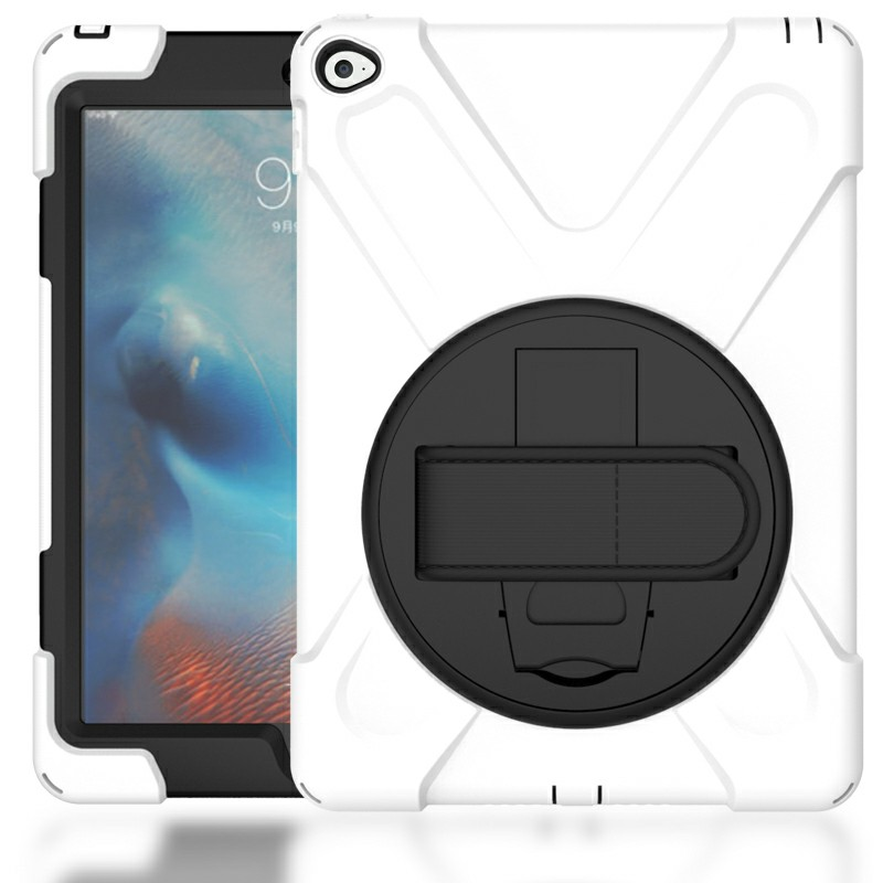 360 Degree Rotation Back Cover Shockproof Cases with Stand for iPad Air 2 - White