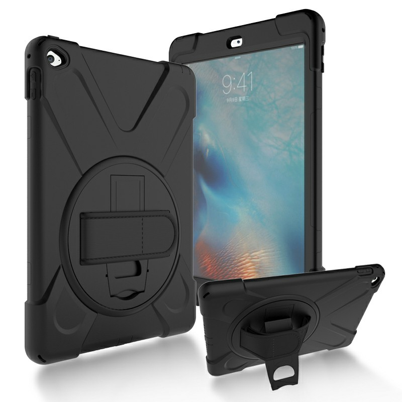 360 Degree Rotation Back Cover Shockproof Cases with Stand for iPad Air 2 - Black