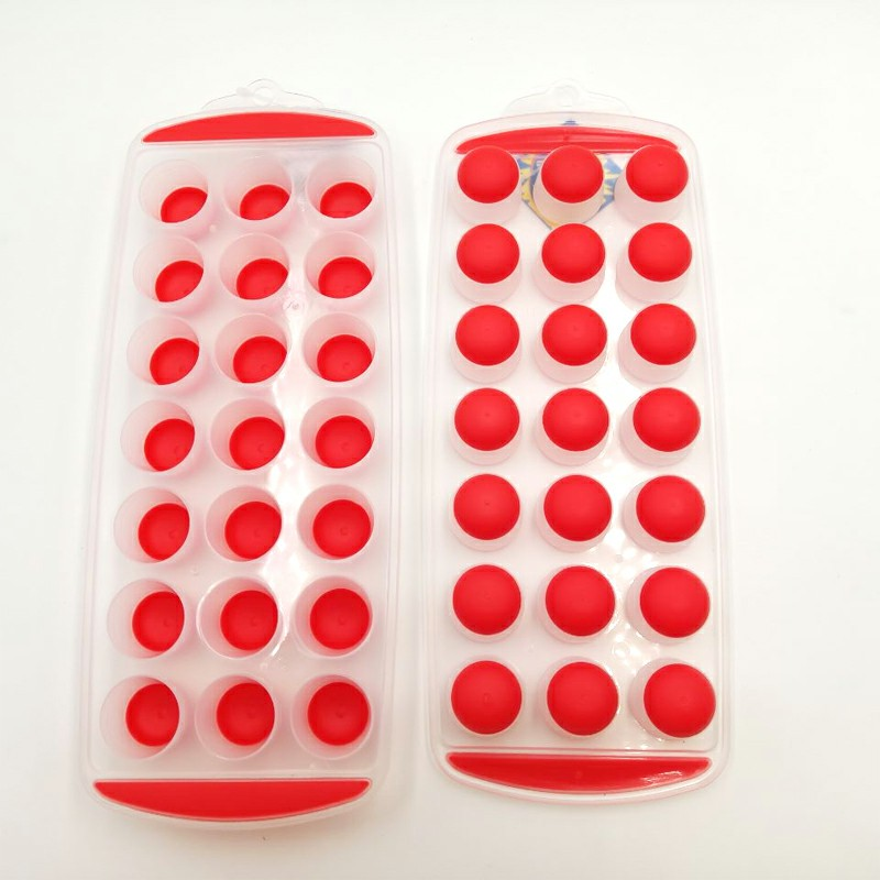 Ice Cube Tray Easy Pop out Maker Plastic Silicone Top Mould 21 Jelly - Red