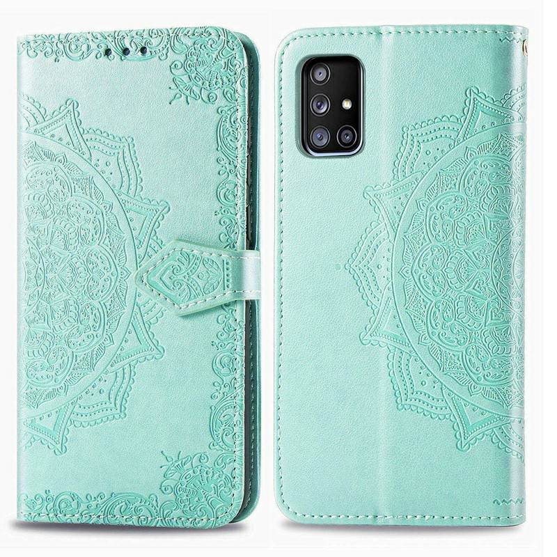 PU Leather Case Enbossing Case for Samsung Galaxy A51 5G - Green