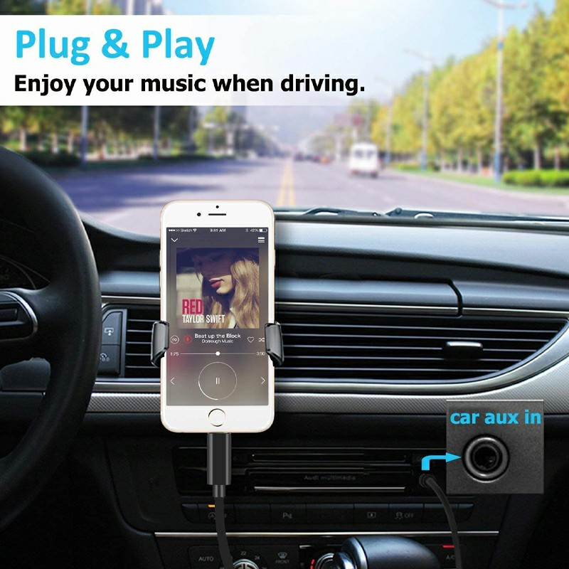 Car Aux 8pin to 3.5mm Audio Connector Cable for iPhone 7/8/11 - Black