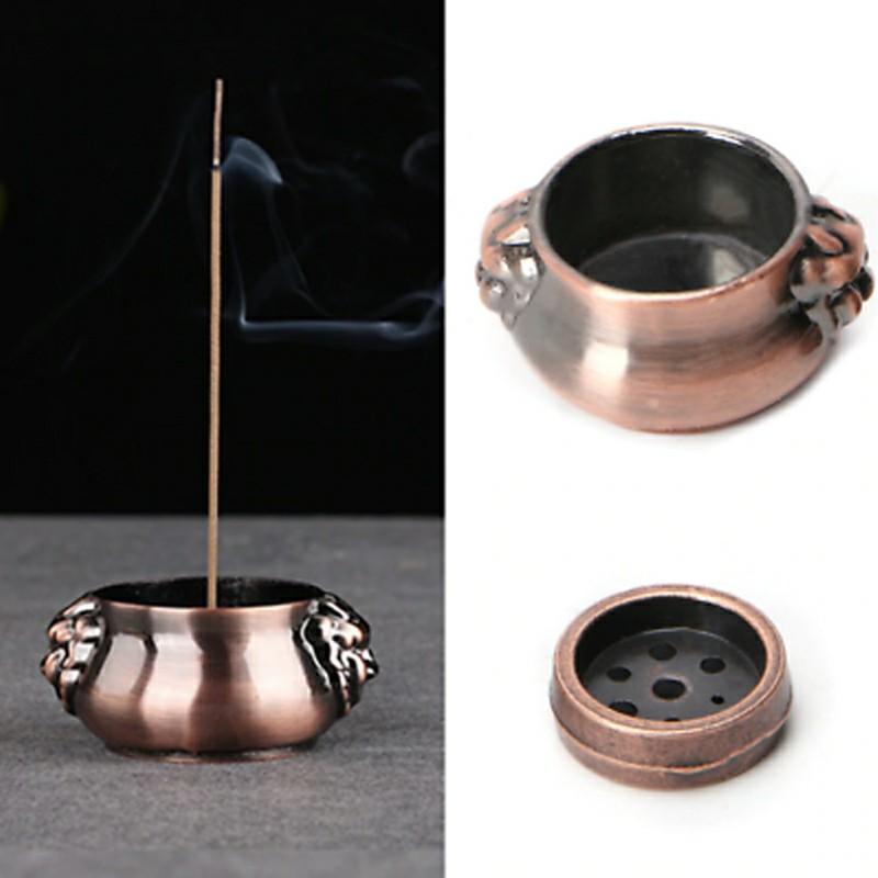 Buddha Copper Cone Incense Burner Plate Stick Tower Holder Bowl Home Decor