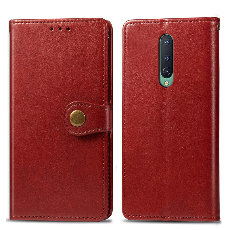 Wallet Flip Stand Case Cover PU Leather Protective Phone Case for OnePlus 8 - Red