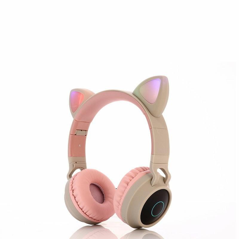 Wireless Cat Ear Bluetooth 5.0 Stereo Bass Headset LED Lights Earphone for Kids Adults - Grey