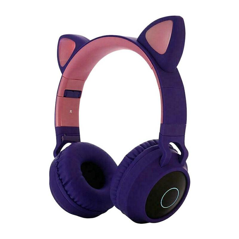 Wireless Cat Ear Bluetooth 5.0 Stereo Bass Headset LED Lights Earphone for Kids Adults - Purple