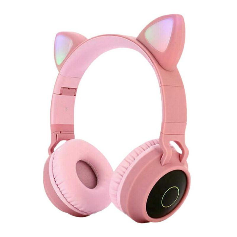 Wireless Cat Ear Bluetooth 5.0 Stereo Bass Headset LED Lights Earphone for Kids Adults - Pink