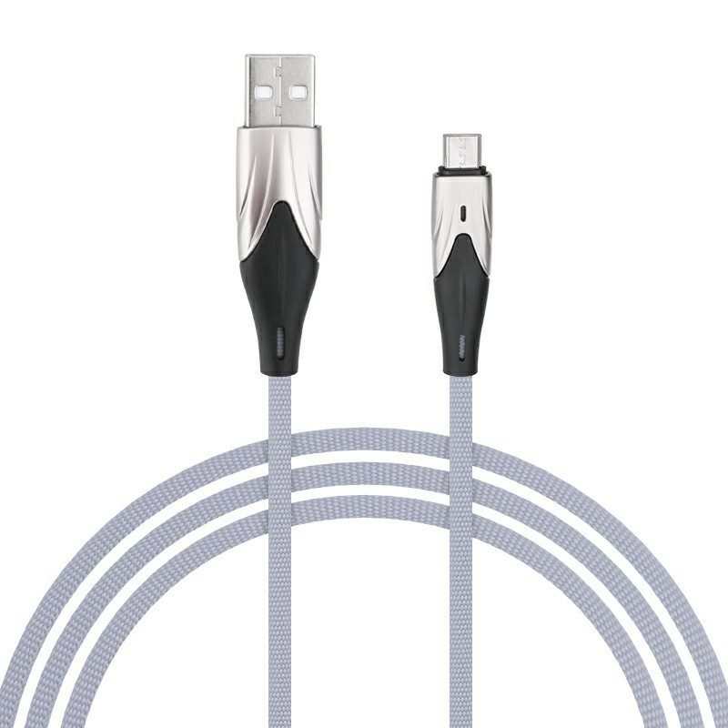 2m Braided Fabric Micro USB Android Charger Cable - Grey