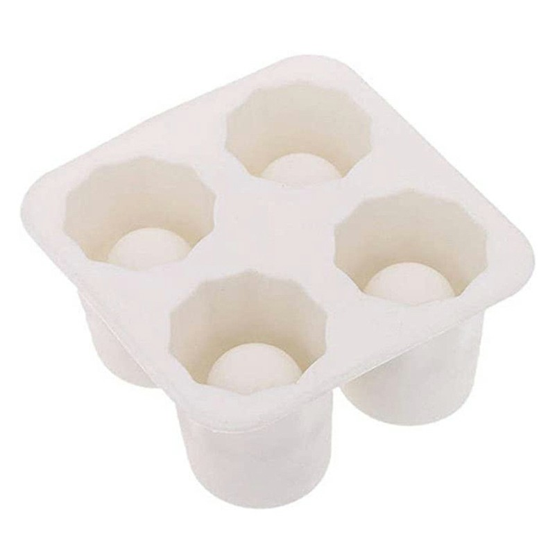 Four-hole Ice Cup Ice Making Mold Creative Edible Summer DIY Production - White