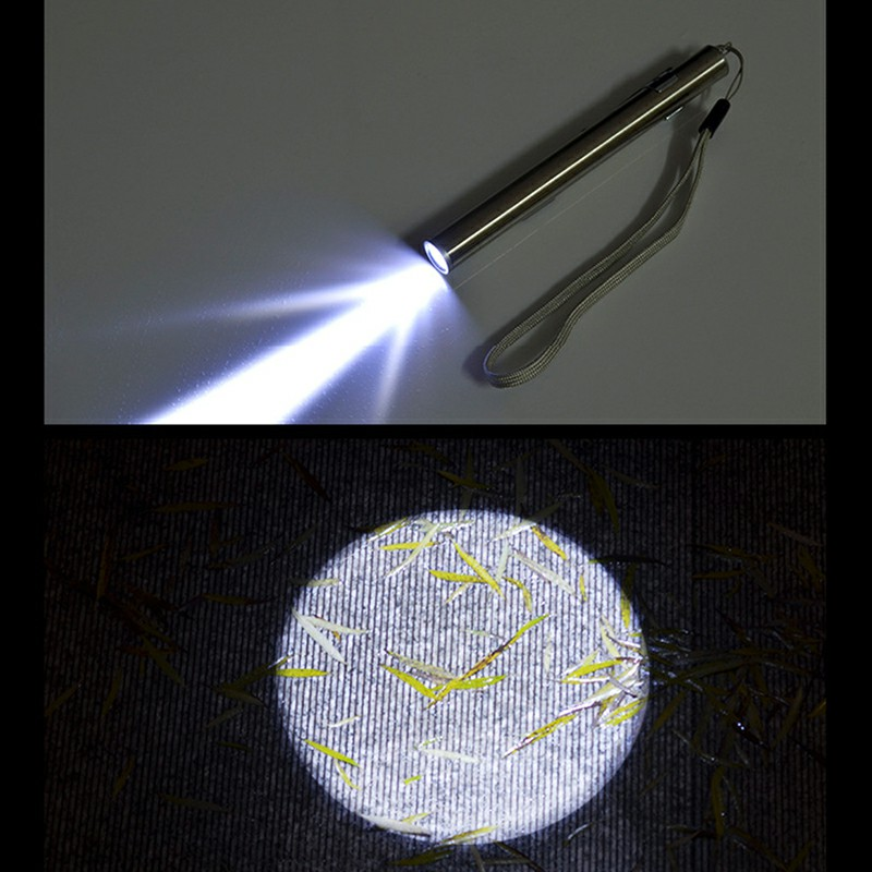 Stainless Steel USB Rechargeable LED Flashlight Mini Torch Light Pen Glare