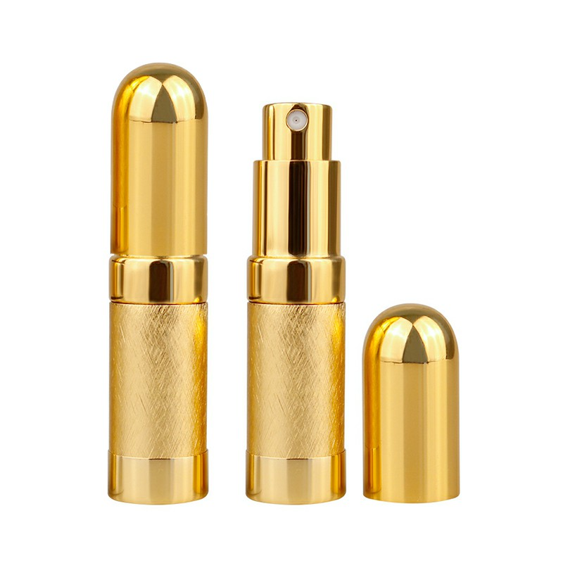 6ml Mini Portable Travel Refillable Metal Perfume Liquid Atomizer Bottle - Gold