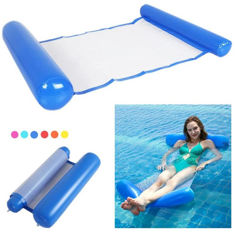 Folding Water Air Mattress Deck Floating Row Inflatable Hammock - Dark Blue