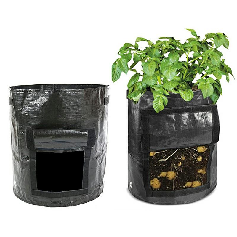 10 Gallon PE Plastic Reusable Potato Bags Tomato Veg Durable Balcony Patio Planters Grow Bag - Black