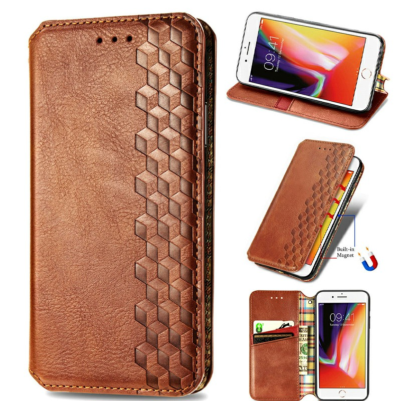 Magnetic PU Leather Wallet Case Cover for iPhone 7/8/SE - Brown
