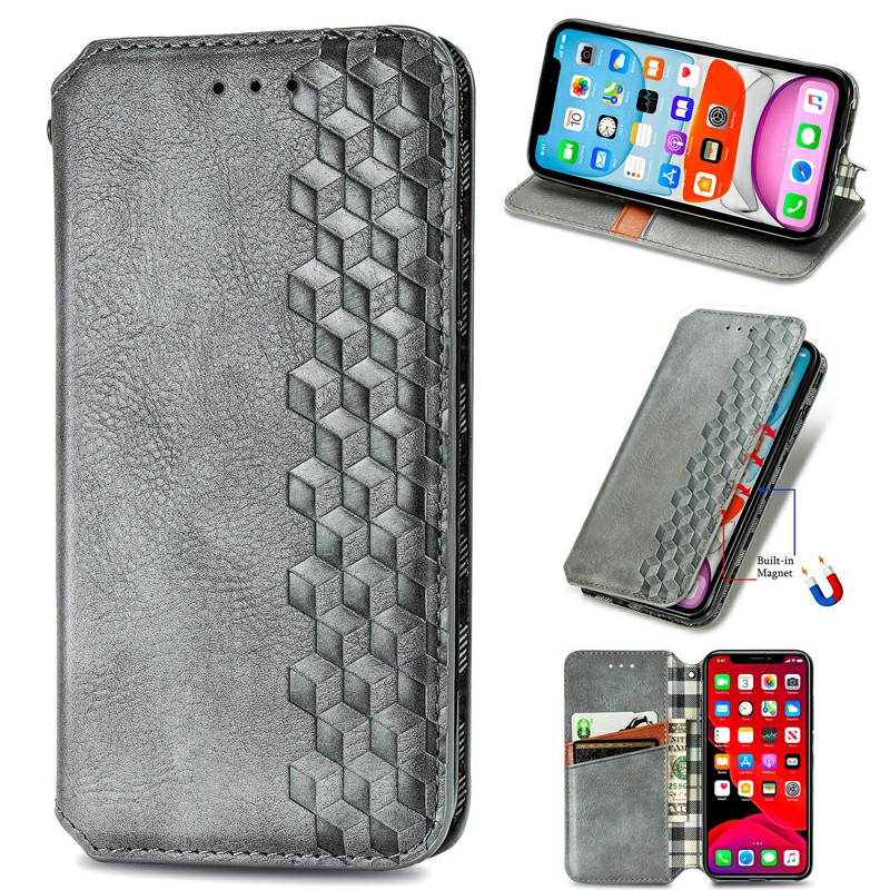 Magnetic PU Leather Wallet Cover Protective Case for iPhone XR - Grey