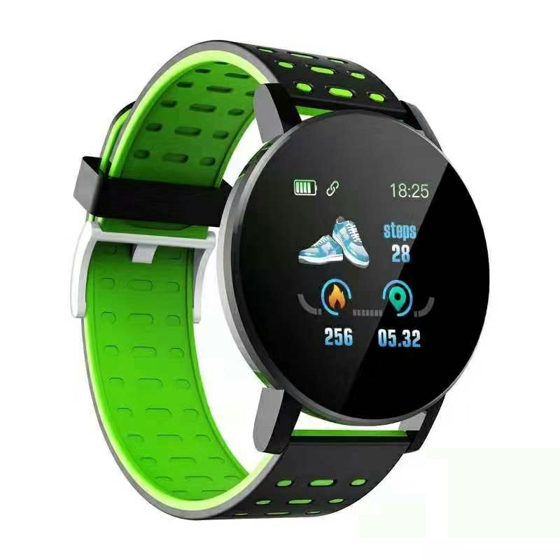 119plus Bluetooth Smart Watch Heart Rate Tracker Fitness Smartwatch - Green