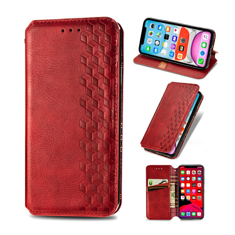 Magnetic PU Leather Wallet Case Flip Cover with Stand for iPhone 11 Pro Max - Red