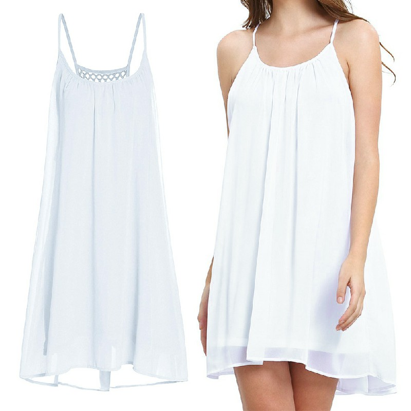 Women Holiday Chiffon Beach Wear Bikini Cover Up White - M