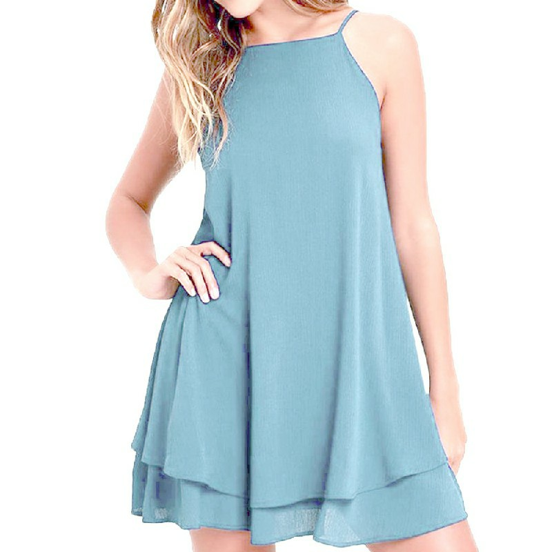 Women Holiday Chiffon Beach Wear Bikini Cover Up Light Blue - 2XL