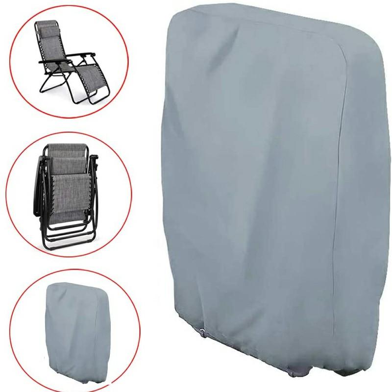Folding Reclining Chair Cover Rattan Sun Lounger Cover Outdoor Garden Waterproof - Grey