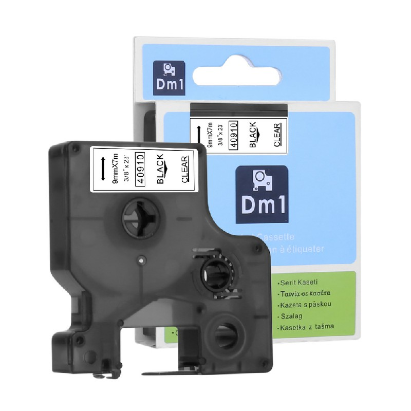 Label Tapes Compatible for DYMO DM1 Printer 9MM - Black on Clear