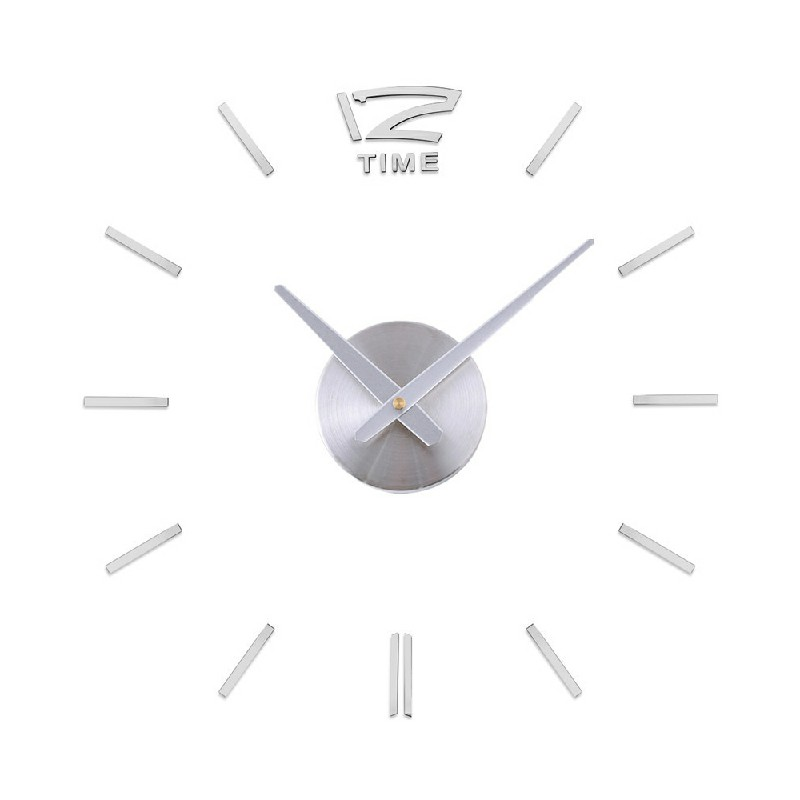 Stick On DIY Large Modern Acrylic Mirror Wall Clock Mute - Silver