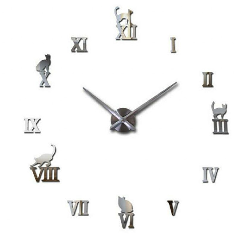 Stick On DIY Roman Numeral Acrylic Mirror Wall Clock - Silver