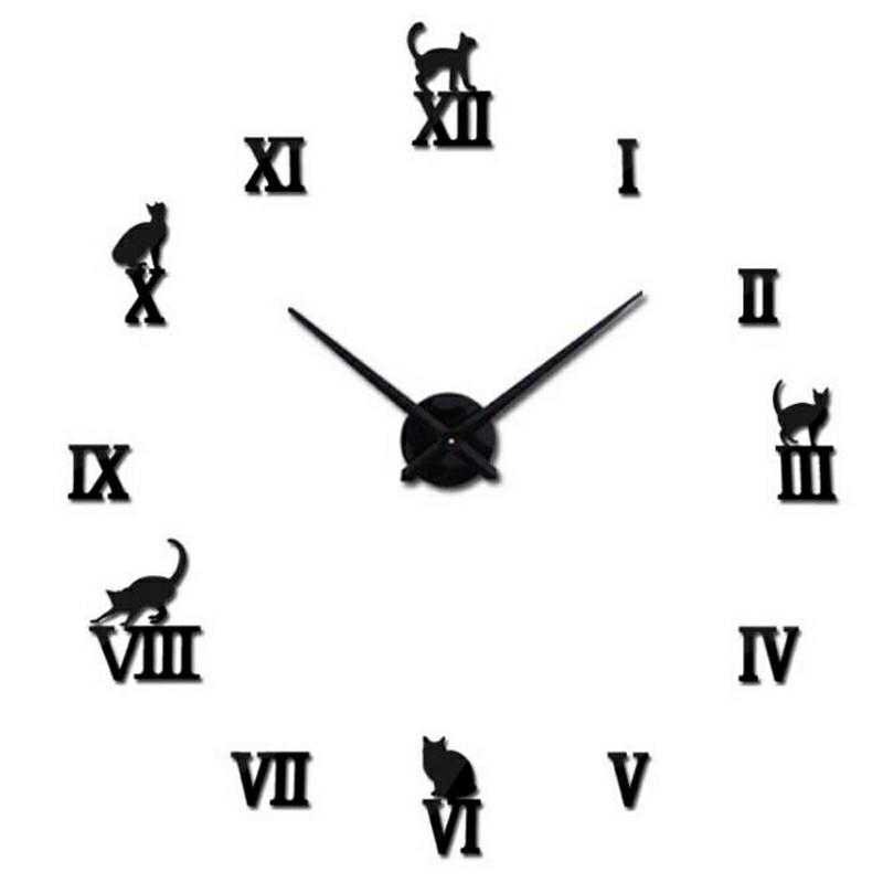Stick On DIY Roman Numeral Acrylic Mirror Wall Clock - Black