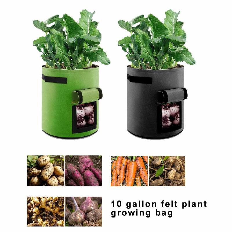 2 pcs 10 Gallon Potato Grow Planter Bags Vegetable Planting Bag Fabric Pot Onion - Black
