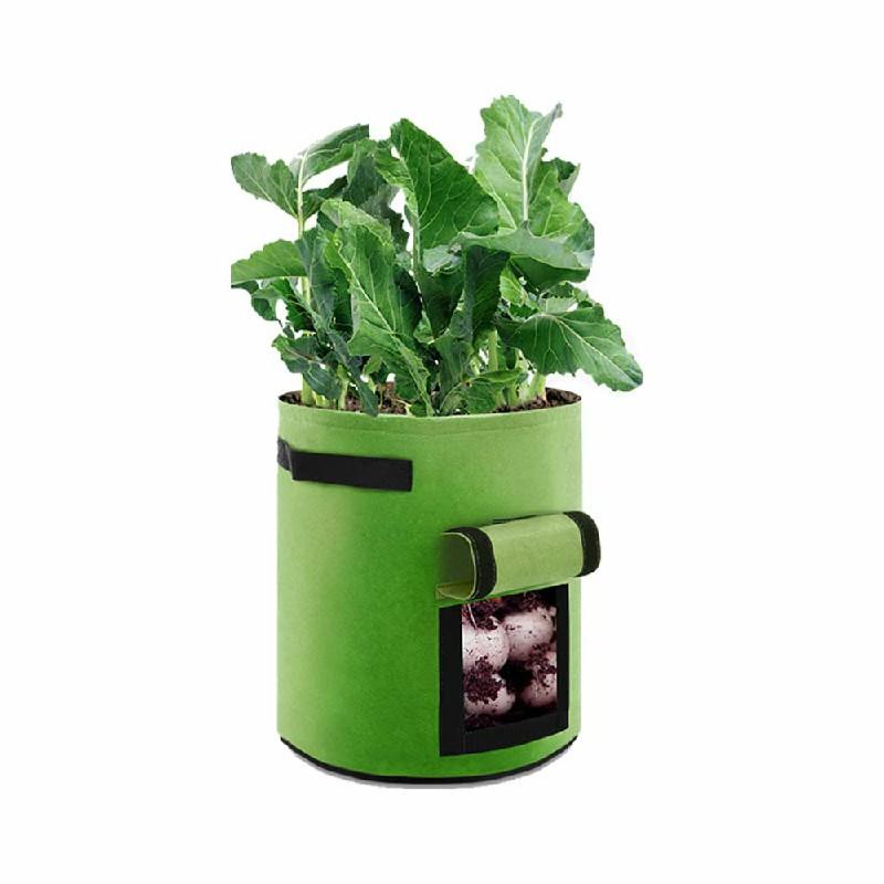 2 pcs 10 Gallon Potato Grow Planter Bags Vegetable Planting Bag Fabric Pot Onion - Green