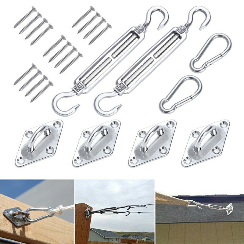 Sun Sail Shade Canopy Stainless Steel Fixing Fittings Hardware Accessory Kit - 8mm