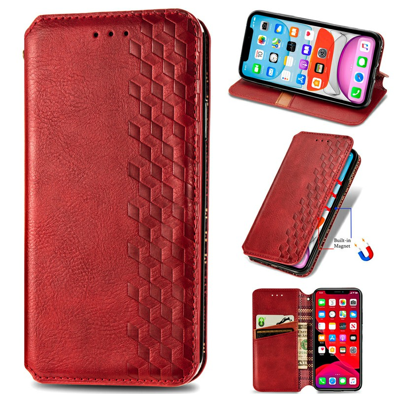 Magnetic PU Leather Wallet Case Flip Stand Cover for  iPhone XS Max - Red