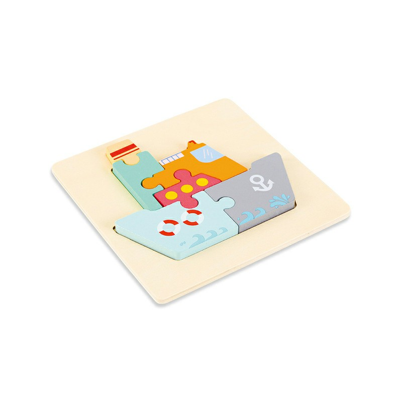 Children Toys Wooden 3d Cartoon Creative Jigsaw Puzzle Early Education - Steamship