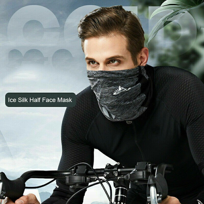 Neck Gaiter Bandana Headband Cooling Face Scarf Shield Head Cover Snood Scarves - Grey