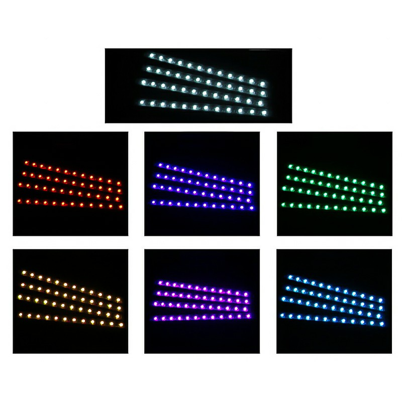 4 pcs RGB Car Interior Atmosphere Footwell Strip Light USB Charger Decor Lamp