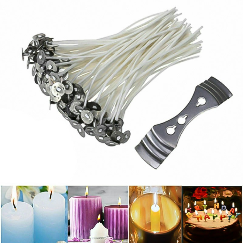 100 pcs 15cm Long Pre Waxed Wicks for Home Candle Making Cotton with Sustainer