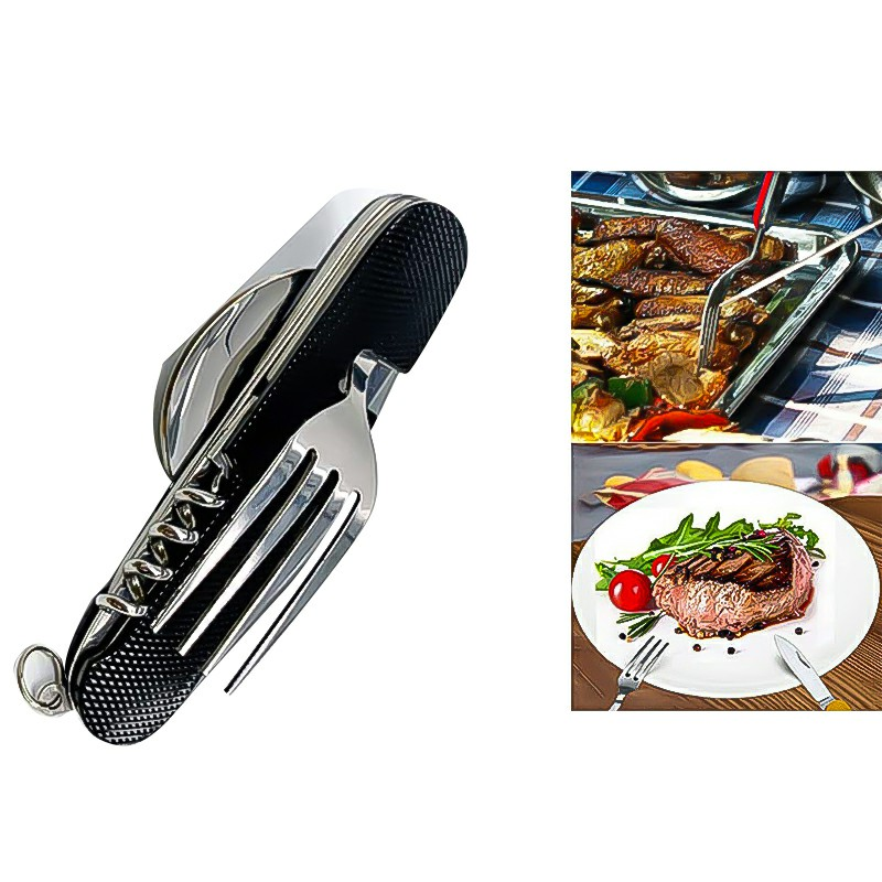 Camping Cutlery Set Stainless Steel Travel Cutlery Kit Detachable Tableware - Black