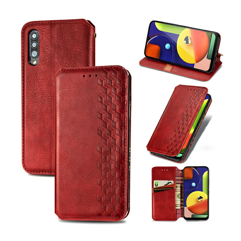 3d Embosed Magnetic PU Leather Wallet Card Case for Samsung Galaxy A70S - Red
